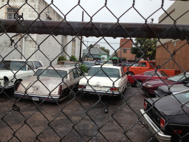 A few classics tucked in here including a Volvo P1800, a few nice Mercedes Sedans and a great old Truck in North Loop Orange