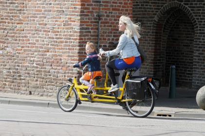 Mom and daughter on Tandem