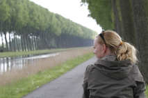Beth on path to Bruges