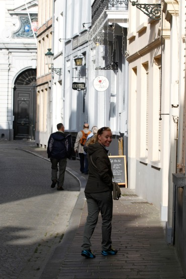 Beth in front of Bruges hotel